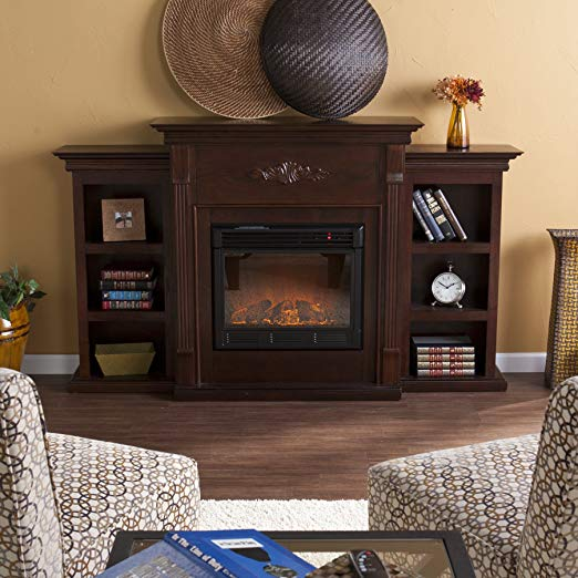 5. Southern Enterprises SEI Tennyson Electric Fireplace with Bookcases