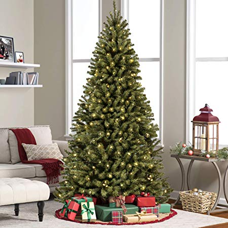 best choice products 75 ft pre lit premium spruce hinged artificial christmas tree